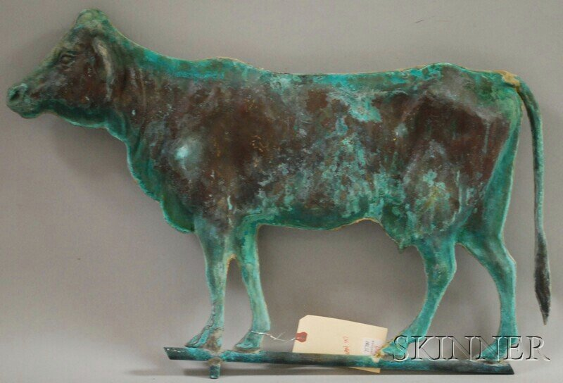 519: Patinated Molded Copper Cow Weather Vane, cow lg.