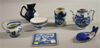 816: Seven Chinese Export Blue and White Porcelain Tabl