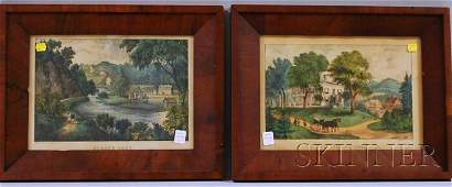 917A Two Framed Currier  Ives Handcolored Lithograph