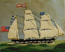 1146 Woolwork Portrait of an American Threemasted Sai