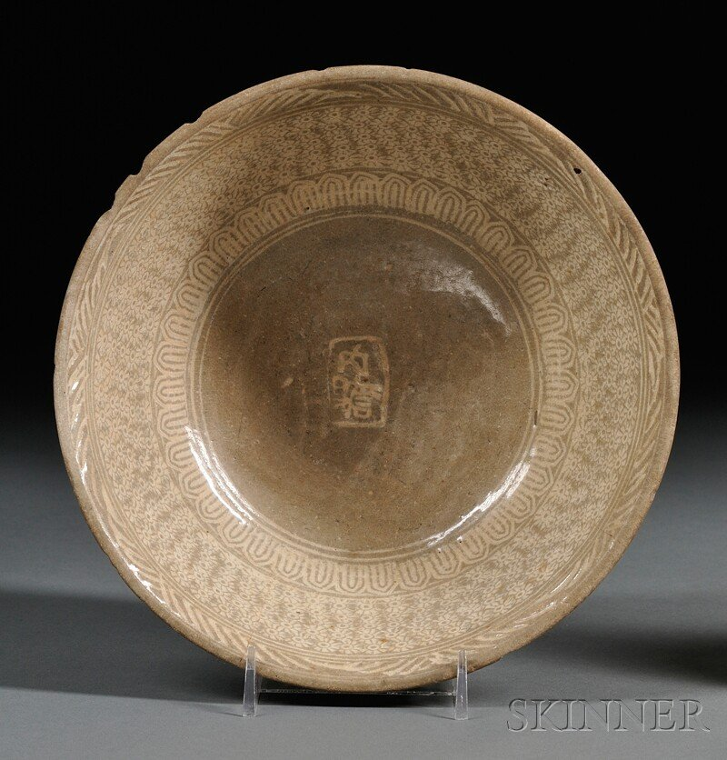 15: Punch'ong Bowl, Korea, Choson Dynasty, stamped and