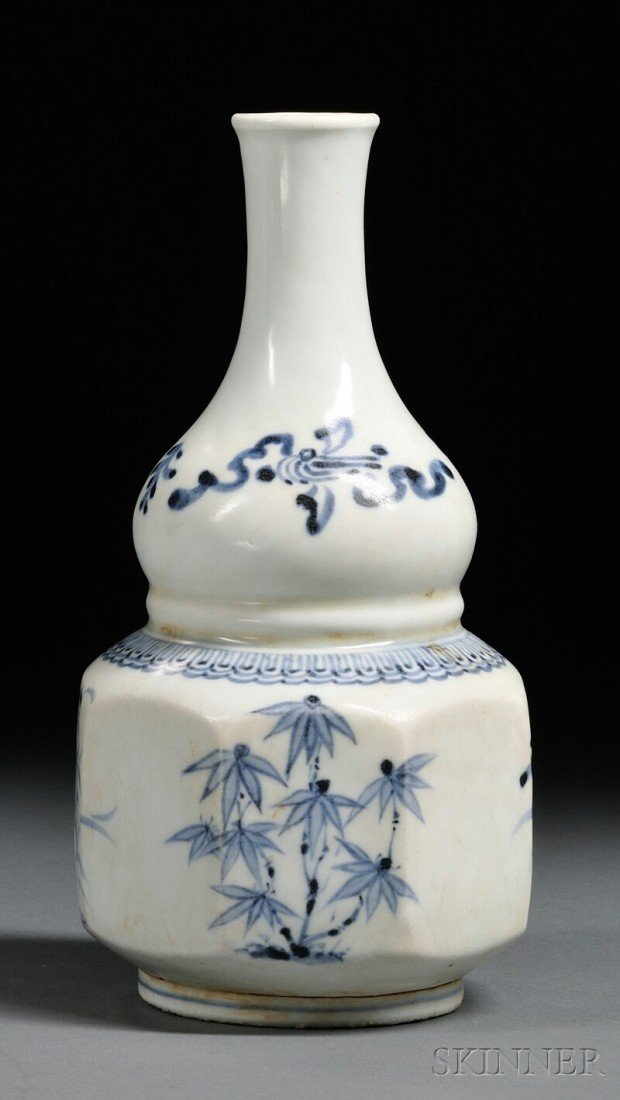 22: Blue and White Wine Bottle, Korea, Choson Dynasty,