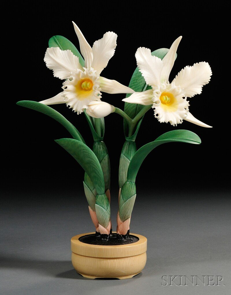 315: Ivory Carving, China, polychrome orchid plant in a