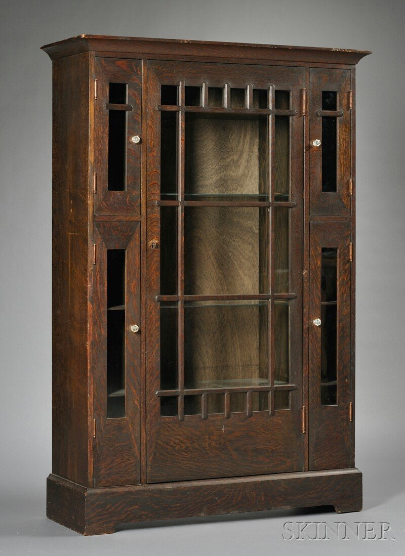 Arts & Crafts Bookcase Oak and glass Possibly Shop of t