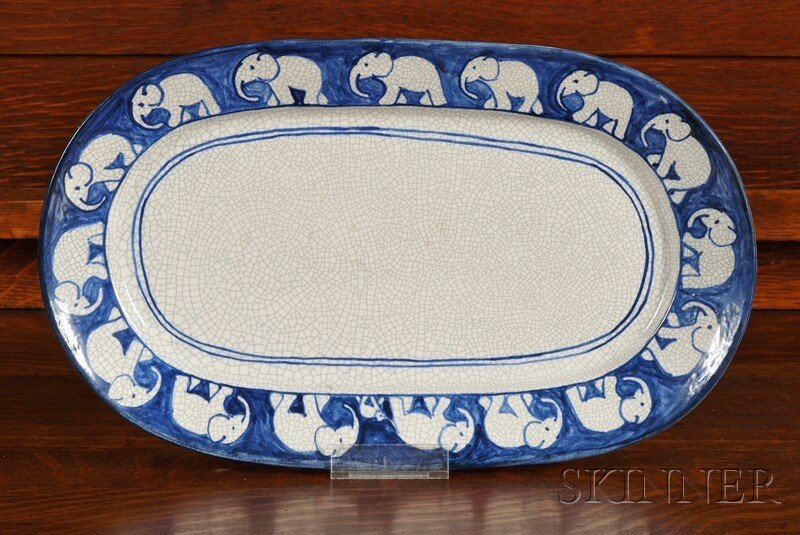 Dedham Pottery Elephant Platter Decorated earthenware D