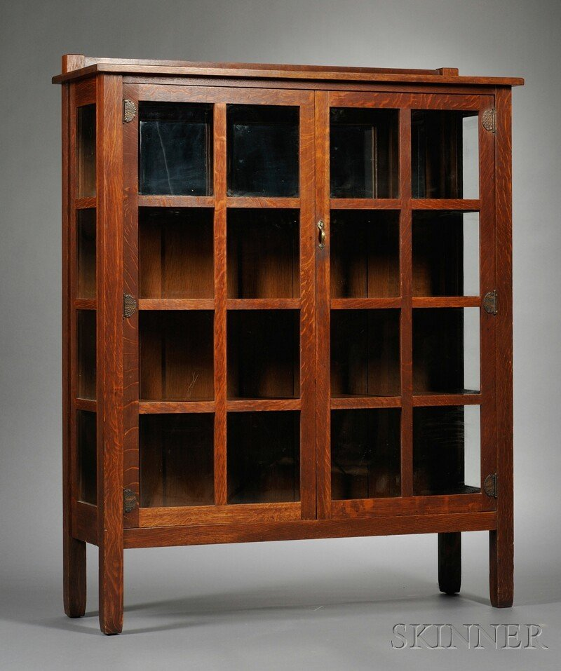 Arts & Crafts Stickley Brothers China Closet Oak and gl