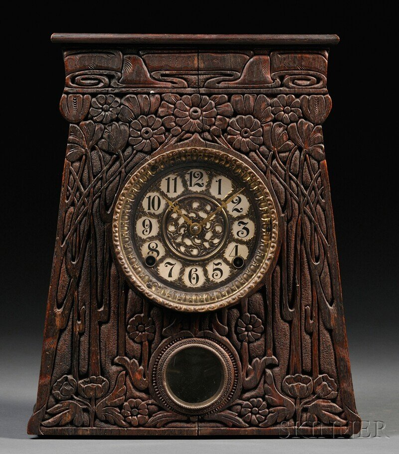 Artisan Arts & Crafts Movement Mantel Clock Oak, metal