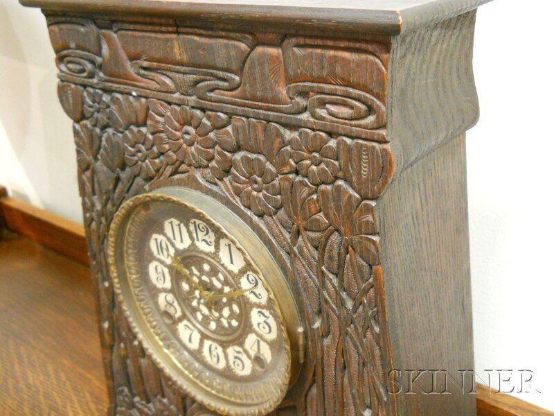 Artisan Arts & Crafts Movement Mantel Clock Oak, metal - 2