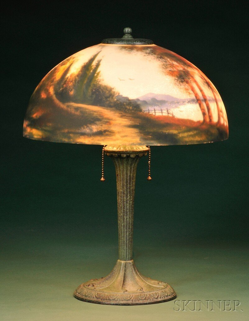 Reverse painted table lamp painted glass and patinated metal aladdin reverse painted table lamp painted glass and patinated metal muncie indiana domed shade reverse painted with geotapseo Image collections