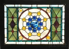 Mosaic Glass Window Attributed to John LaFarge (American, 1835-1910) Mosaic art glass New York Jeweled transom panel, framed, unsign...