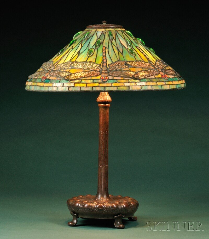 , Tiffany Studios Dragonfly Table Lamp, Mosaic glass and bronze, Leaded glass and patinated bronze shade dragonfly bodies, mauve wings