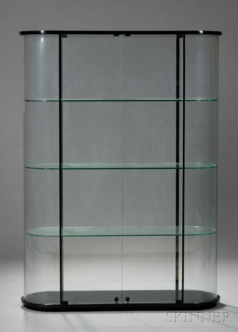 Elegant Vitrine Modern Foto Von , Vitrine, Black Lacquer And Glass, Oval