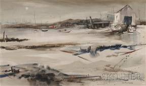 """William Maynard (American, b. 1921) Two Works: Dory and Provincetown Harbor Each signed """"WM MAYNARD"""" l.r., titled on the backing. Mi..."""
