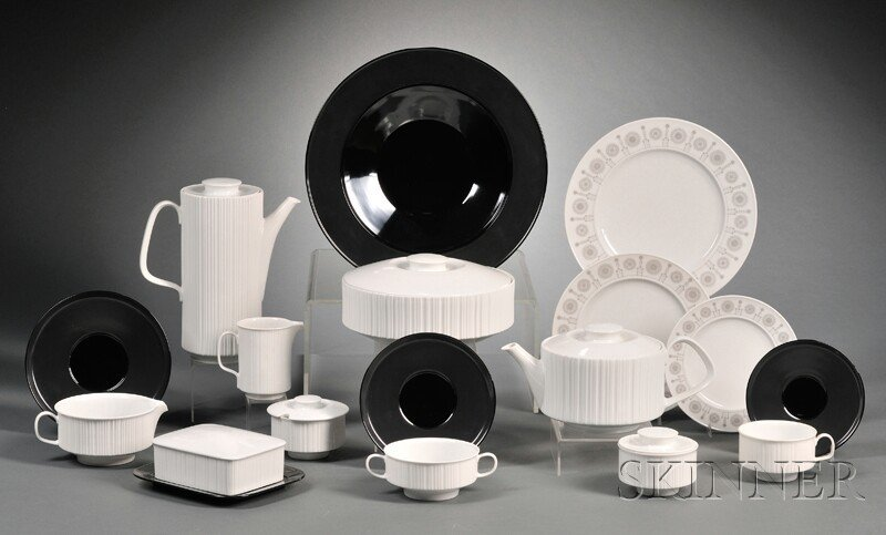 Rosenthal Studio-Line Dinnerware Porcelain Germany Approximately ninety-five pieces of dinnerware; cylindrical white covered pitcher...