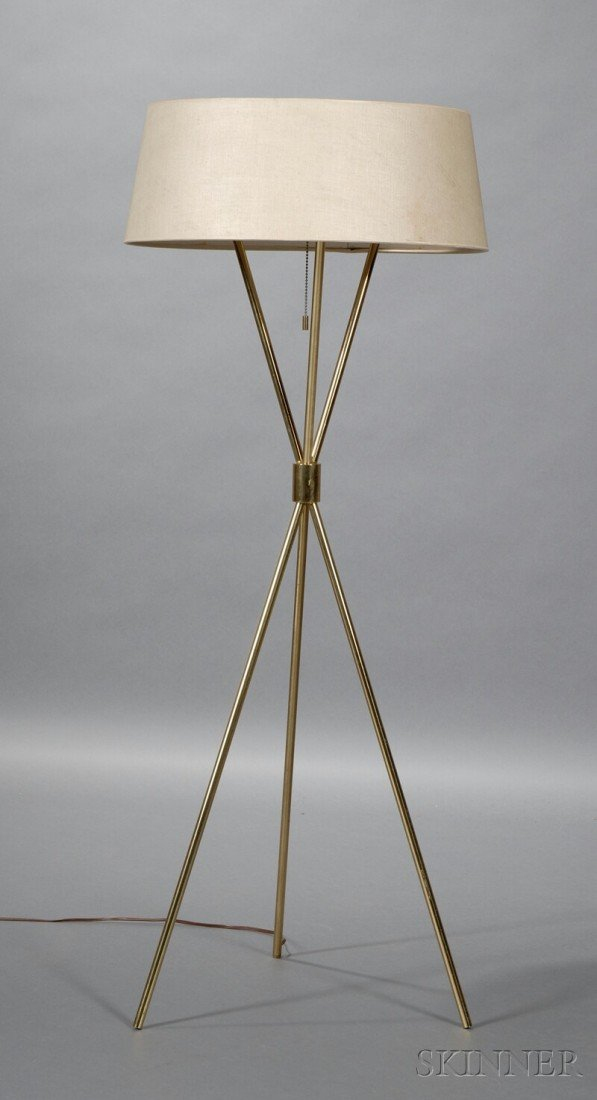 T.H. Robsjohn-Gibbings Floor Lamp Brass, wiring, and fabric Hansen Lighting, United States, c. 1956 Circular shade with metal disk o...