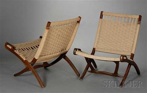 Two Mid Century Modern Folding Chairs Walnut And Natural