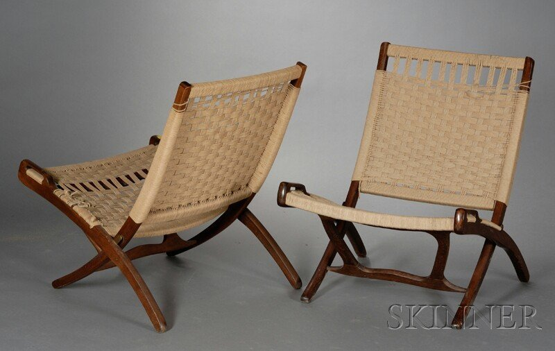 Two Mid Century Modern Folding Chairs Walnut And Natural Rope Yugoslavia  Woven Seat And Back In Folding X Shape Frame, Loose Joints,.