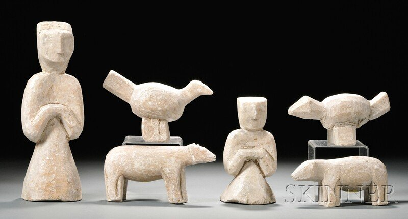 551A: Six Steatite Figures, China, possibly Han period