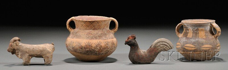 553: Four Early Pottery Pieces, China, two decorated Ne