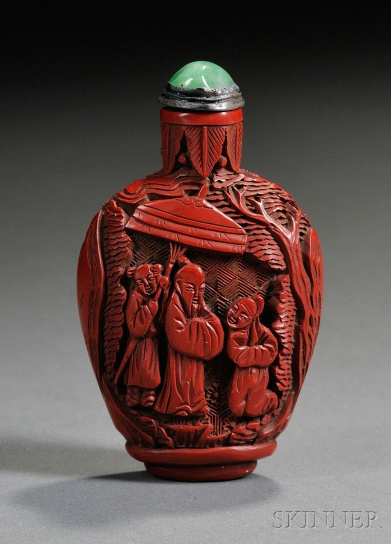1118: Cinnabar Snuff Bottle, China, late 19th century,