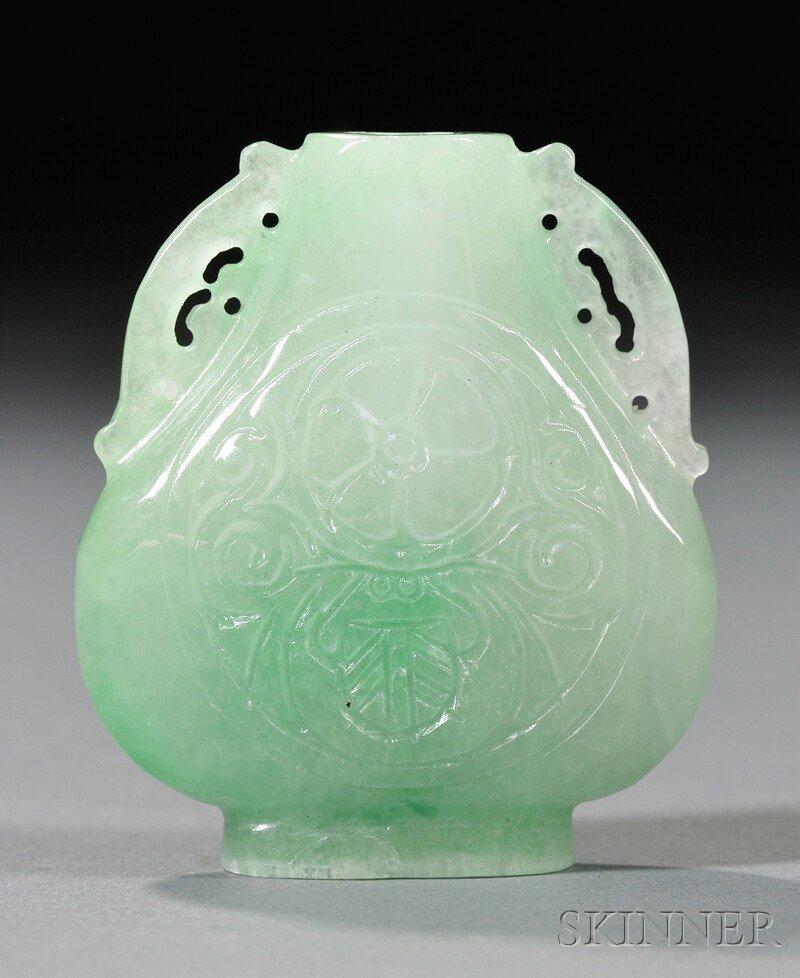 1120: Jade Snuff Bottle, China, the flattened hu-shaped