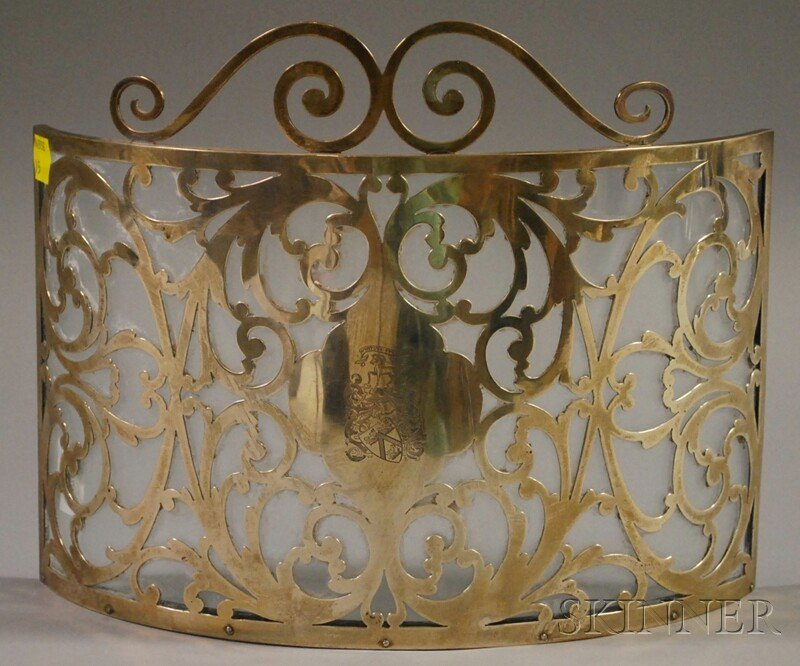 1: Henckel Sterling Silver Overlay Glass Table Screen,
