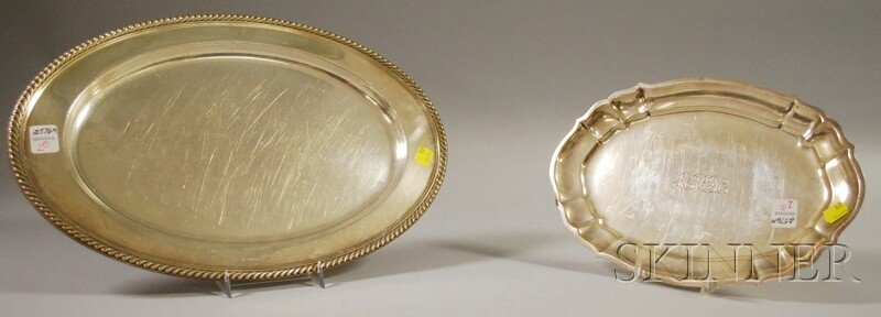 2: Two Gorham Sterling Platters, both 1942, monogrammed
