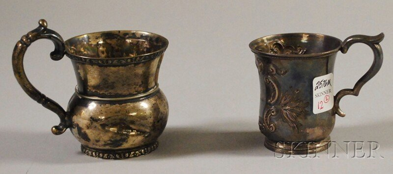 12: Two Coin Silver Mugs, approx. 5.8 troy oz., (dented
