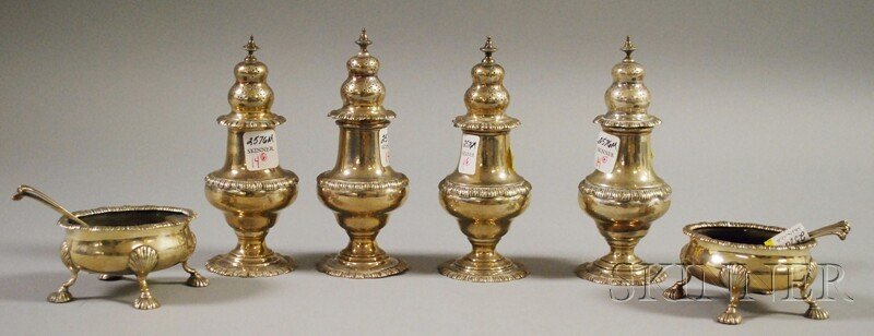 14: Set of Four Sterling Silver Pepper Shakers and Two