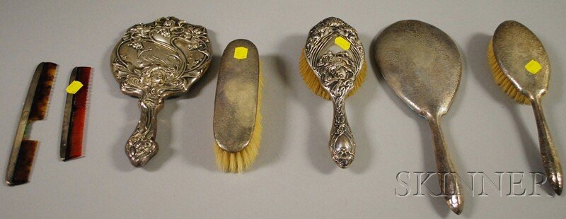 15: Seven Sterling Silver-mounted Dresser Items, four w