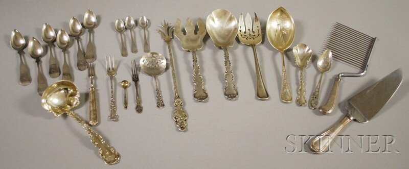 17: Group of Sterling and Coin Silver Flatware and Serv