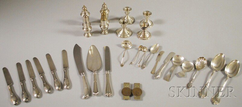 21: Group of Assorted Coin and Sterling Silver Flatware