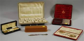 63: Five Boxed Silver Flatware Items, a set of twelve H