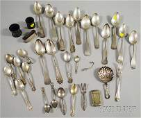 129 Group of Silver and Silverplated Flatware and Tab