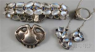 258 Four Silver and White Gold Jewelry Items a sterli