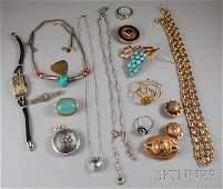 291A Small Group of Antique and Costume Jewelry inclu