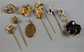 340: Group of Mostly Gold Art Nouveau Jewelry, five gem