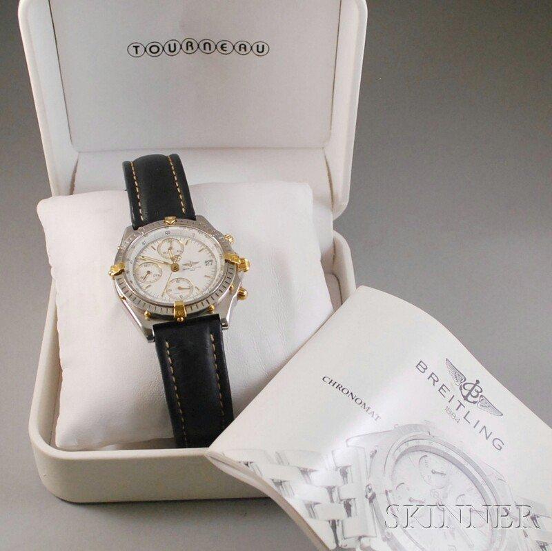 "390: Gentleman's Stainless Steel ""Chronomat"" Wristwatch"