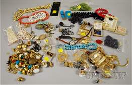 467 Large Group of Costume Jewelry including goldton