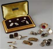 470A Group of Gentlemans Jewelry including a pair of