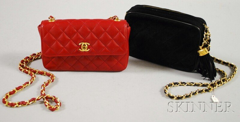577: Two Vintage Chanel Purses, a quilted red leather p