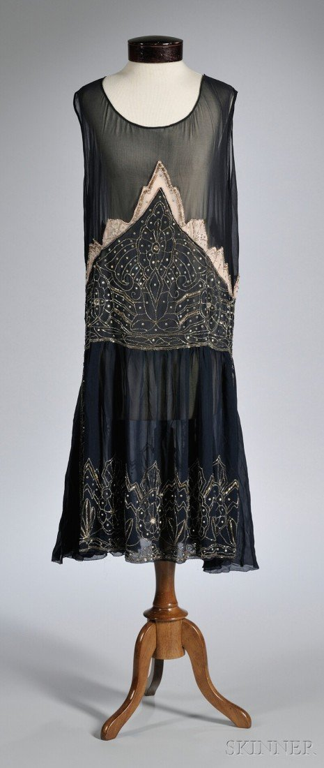 626: 1920s Navy Blue Beaded Silk Dress, with inset pale