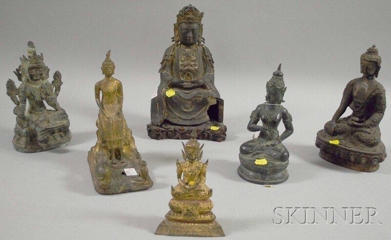 702: Six Patinated and Gilt Cast Bronze Seated Buddha F