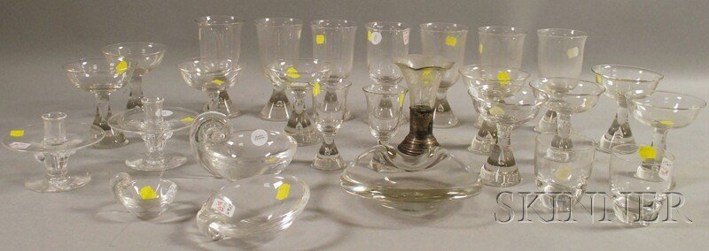 704: Twenty-three Pieces of Steuben Glass Tableware wit