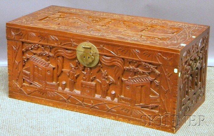707: Asian Carved Hardwood and Camphorwood Storage Box,