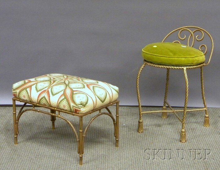 713: Gold-painted Metal Vanity Chair and Footstool.
