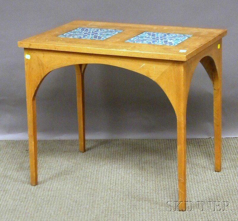 715: Persian Tile-inset Mahogany End Table.