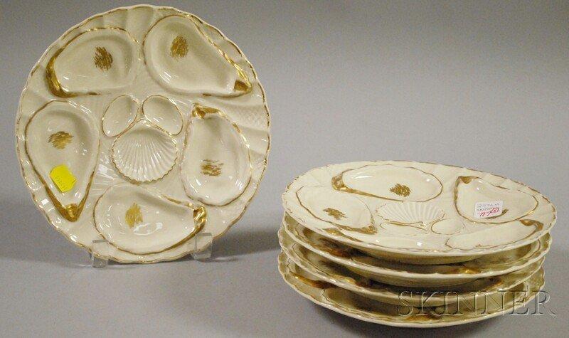 717: Set of Five Weimar Gilt Porcelain Oyster Plates, G