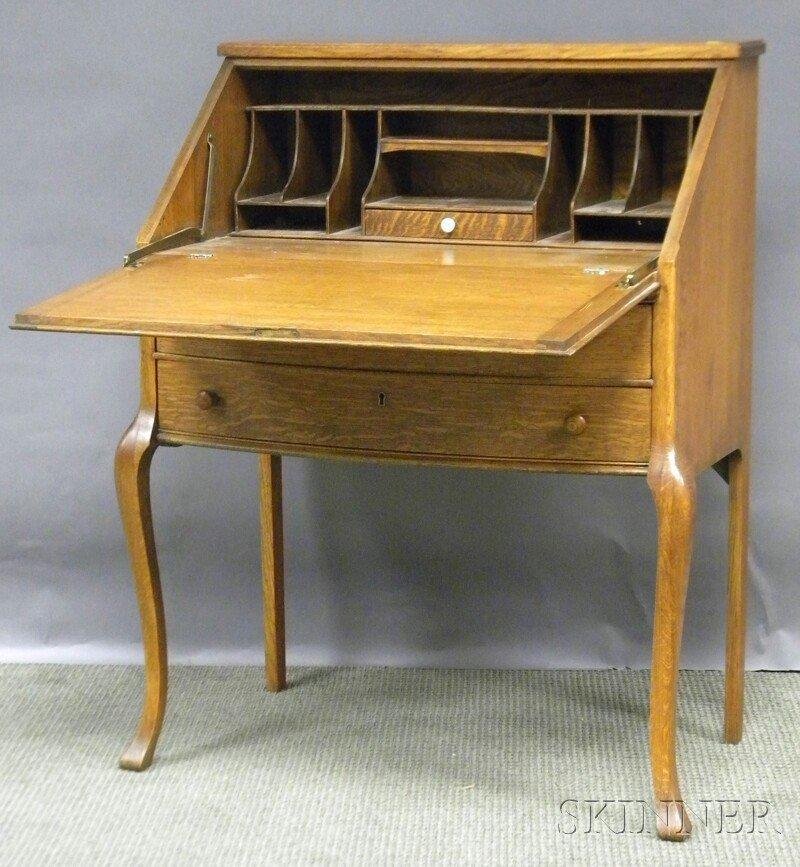 720: Early 20th Century Lady's Oak Slant-lid Bowfront W