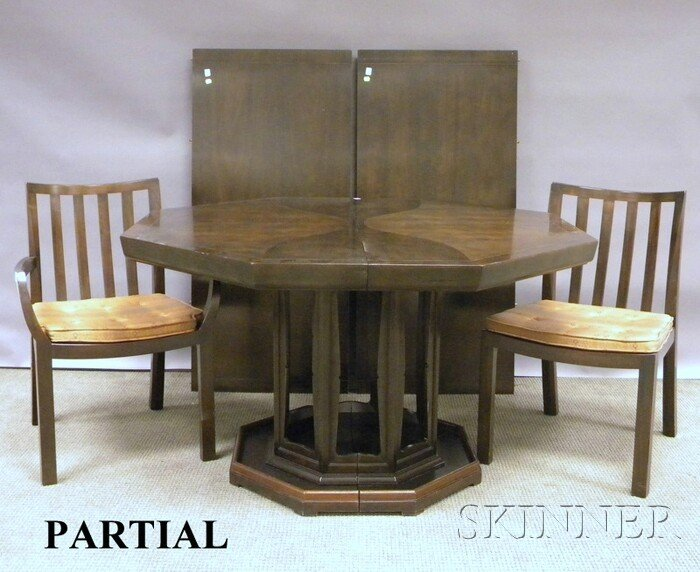 722: Mid-Century Modern Baker Dining Table and Chairs,